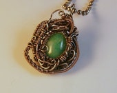 Jadeite & Silver Wire Wrapped Victorian Inspired Pendant