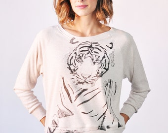 Tiger Long Sleeved Pullover, Graphic Tee, Oatmeal Color, SALE