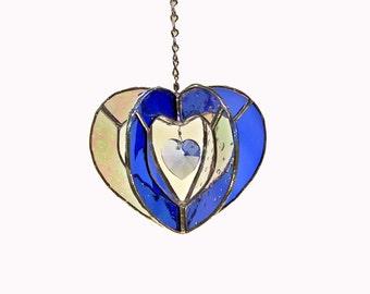 Crystal Blue Heart Suncatcher