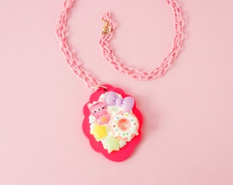 Scalloped Kawaii Decoden Cat Donut Bow • Necklace • 30 Inch Adjustable Chain