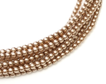 2mm Cocoa Czech Round Glass Pearls Beads 50 pcs