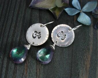 om ... sterling disc earring