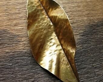 Hammered Antiqued Brass Leaf - Fold Formed Leaf Pendant no.2