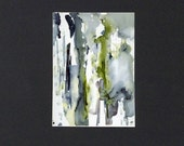 Blue gray and green alcohol ink painting with mat