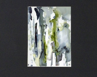 Blue gray and green alcohol ink painting with mat original art 11x14 mat