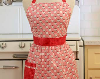 Apron Retro Style Cats on Pink CHLOE Full Apron