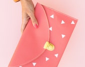 Coral Pink Envelope Clutch Purse & Chain (Dots, Hearts or Triangles Pattern)