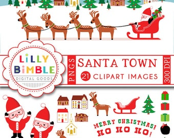 60% off Christmas clipart SANTA with reindeer, sleigh, town, village, sayings, Santa Claus Instant Download