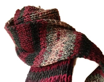 Knit Classic Scarf Burgundy Green Pink Maroon Ombre Stripe Scarf Vegan Rib Knit Men Women Teen FELIX Ready to Ship - Autumn, Winter Fashion