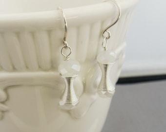 Moonstone Crystal Silver Earrings, Beaded Earrings, Dangle Earrings, Crystal Earrings, Chandelier Earrings