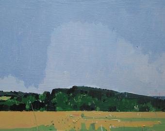 South Ridge, Original Summer Plein Air Landscape Painting on Panel, Ready to Hang, Stooshinoff
