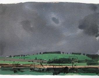 May Rain, Original Spring Landscape Painting on Paper, Stooshinoff