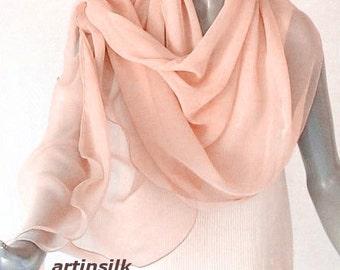 Apricot Peach Wrap, Pale Orange Shawl, SeaShell Coverup, Light Pink Scarf, Sheer Pink Scarf, Blush Silk Chiffon, Artisan Handmade, Artinsilk