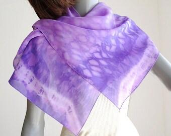 Tie Dye Scarf Lavender Purple  Pink Shawl, Hand Dyed Wrap, Unique Sheer Scarf, Artisan Handmade, Jossiani