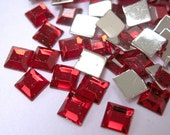 Acrylic Rhinestone Cabochon Beads, Faceted, Square, Red, 6mm, 500pcs