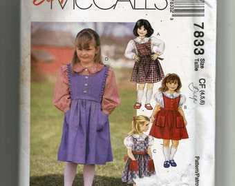 McCall's Girls' Jumper and Blouse Pattern 7833