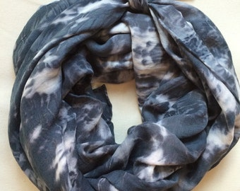 "Hand Dyed Silk and Wool Scarf in Nightfall,  36"" x 80"", Shibori, Tie Dye, Black, Gray, Anna Joyce, Portland OR"