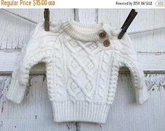 40% FLASH SALE- Vintage Knit Sweater-Baby Sweater-12 Months-White Sweater