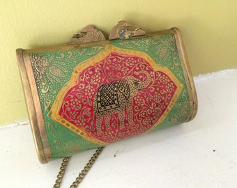 Tiny Brass Purse / Elephant Design / Chain Strap / Red Lining / Evening Opera Bag