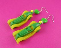Miniature Toy Car Earrings - vintage style racing cars, green and yellow, retro kitsch driving test pass gift, driver's license congrats!