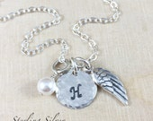 Personalized Angel Wing Charm Necklace Personalized With An Initial Charm And Birthstone, Sterling Silver Wing Memorial Charm Jewelry