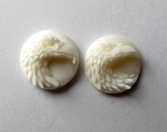 MS 13mm Eagle Heads Cabochon Cabs (2) Carved Cow Bone Fair Trade Bali