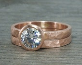 Moissanite Rose Gold Rings - Engagement and Wedding - Forever One GHI, Recycled 14k Gold, Hammered, Matte, Conflict Free, Made to Order
