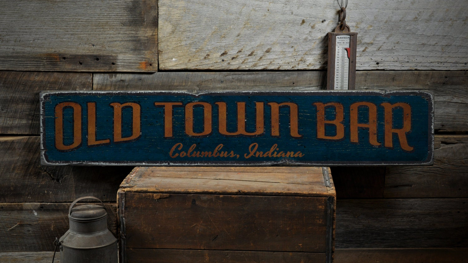 old town bar wood sign personalized bar location sign