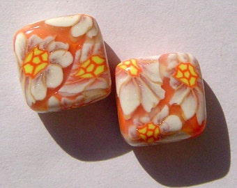 Daisy Crazy Handmade Artisan Polymer Clay Beads Pair