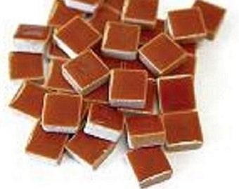 50 - 3/8 inch BROWN Ceramic Mosaic Tiles