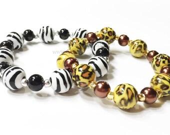 Safari animal party favor. One Animal Print bracelet. YOU CHOOSE Zebra or Leopard. Animal print personalized party favor bracelet.