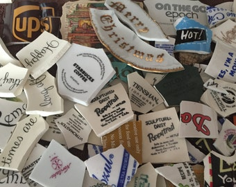 Mosaic Tiles Mix Broken Plate Art Hand Cut Pieces Supply Vintage New Words Back Stamps Plate Makers 250