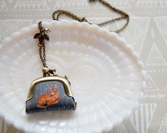 tiny coin purse necklace- litte deer rainy day- woodland whimsy
