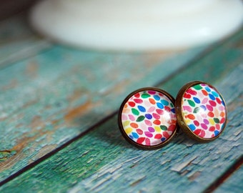 spring confetti style framed post earrings- aged brass tone