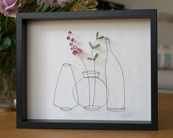 Three Vases I wire framed picture