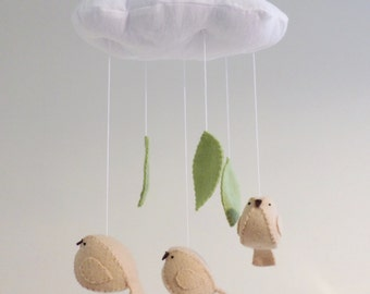 Baby mobile - birds with leaves,  nursery decor gender neutral cloud mobile - green nursery