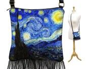 Starry Night Purse, Bohemian Hippie Bag, Small Crossbody Bag, Mini Gyspy Bag,  Boho Fringe Handbag, Van Gogh Art zipper, blue yellow RTS