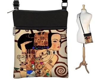 Small Crossbody Bag Cross Body Purse Sling Shoulder Bag Fabric Handbag Hipster Bag Art Nouveau Gustav Klimt Expectation Woman Goddess RTS