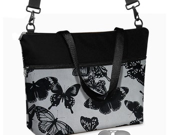 "17 inch Laptop Tote Bag Womens Briefcase Butterfly Laptop Shoulder Bag 15.6""  pockets zipper black gray charcoal grey MTO"