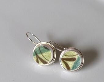 Simple Circle Broken China Earrings - Green