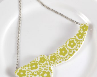 Cut Out Recycled China Necklace - Green and White