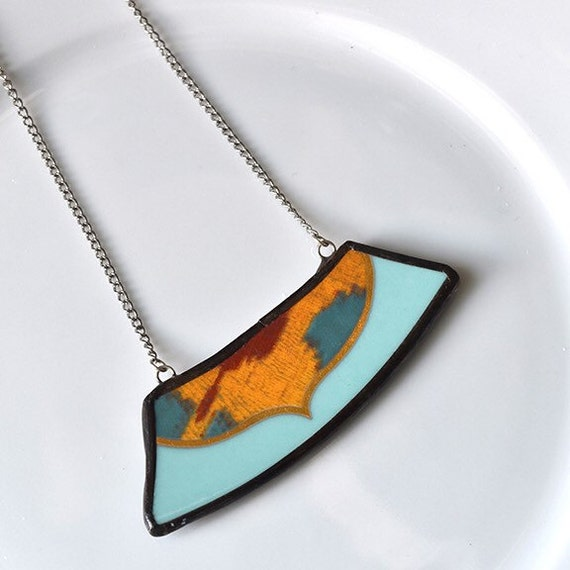 Wide Rim Broken China Jewelry Necklace  - Blue and Yellow Modern