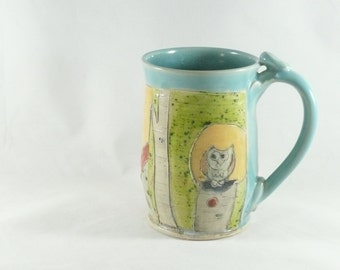 Large Pottery Mug with forest design holds 16 ounces  Large Coffee Cup, Tea mug, teacup, Tankard Stein, Pencil holder, Toothbrush holder 419