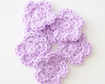 Crochet Flower Appliques, Flower Embellishment, Purple Flowers, Lavender Flowers, Set of 6, Crochet Flower Motif, Scrapbooking