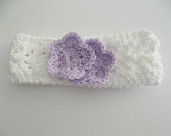 Baby White Headband, Hand Knit White Headband, Newborn Headband, White Lacey, Lavender Crochet Lavender Flowers