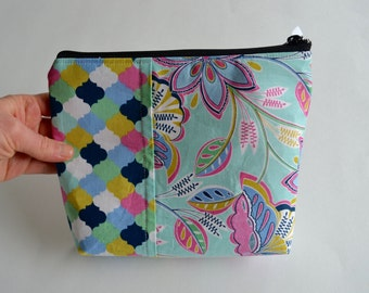 Modern Floral Zipper Pouch - Blue Pink Green Pouch - Cosmetic Pouch - paisley Pouch - Mosaic Pouch - Navy Blue Pink Pouch