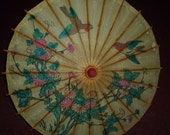 Vintage UMBRELLA Painted Paper Bamboo Birds Flowers Asian 19 inch Free Ship USA