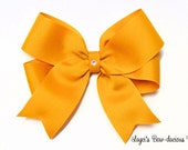Mustard Gold Tails Down Hair Bow, 4 sizes, small, medium, large, extra large, no slip, baby bows, toddler bows, girls bows