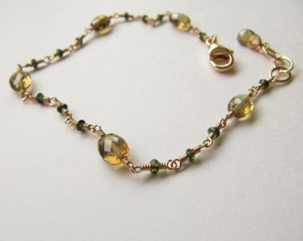 Cognac Quartz Green Tourmaline Wire Wrapped Bracelet