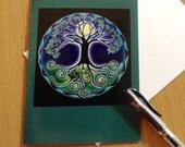 Mandala Greeting Card -Soring Full moon Tree of Life Spring  Equinox